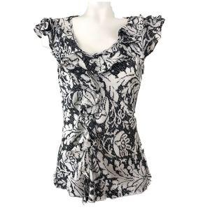 Sunny Leigh Black & White Ruffle Print Blouse M